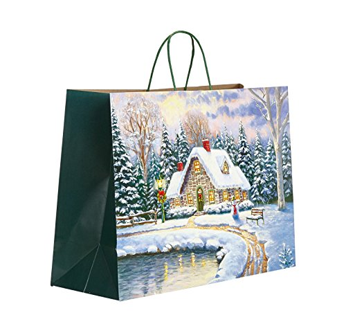 100 Fantasy Cottage Christmas Ultra-Dual Recyclable White Kraft Paper Bag (16