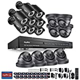 SANNCE 16 Channel 5-in-1 AHD1080P DVR Security Camera System with 16x2MP Outdoor Night Vision HD CCTV Camera for Home/Department/Office, Support AHD/TVI/CVI/CVBS/IP Input, Email Alert, NO HDD