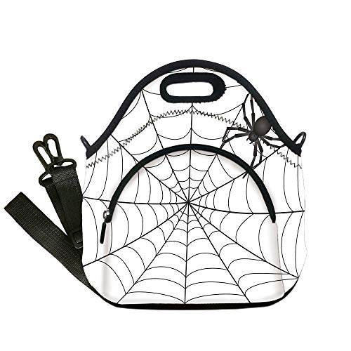 - Insulated Lunch Bag,Neoprene Lunch Tote Bags,Spider Web,Gothic Fairytale Elements Creepy Scary Dangerous Spider Sticky Catch,Charcoal Grey White,for Adults and children