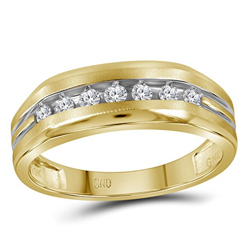 Size 11-10k Two-tone Yellow Gold Mens Round Diamond Grooved Wedding Band Ring 1/4 Ct. ()