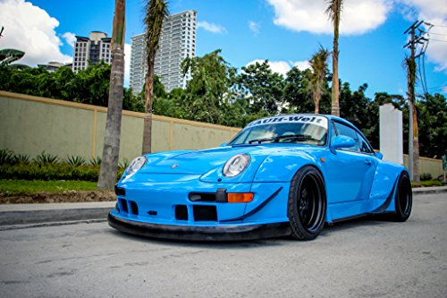 Porsche 993 Wide Body Coupe by RWB Tuner Car Print on 10 Mil Archival Satin Paper Blue Front Side Static View 24