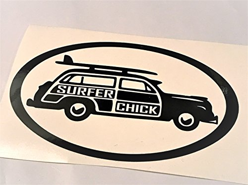 - Classic Surf Woody: Surfer Chick, Beach Coast Living Black Vinyl Decal 6x4.5 inch