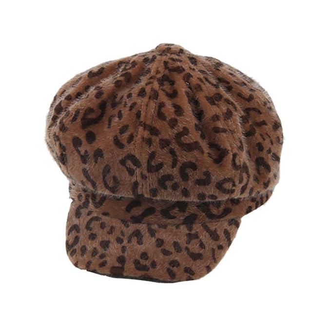 6072a453e Amazon.com: GODIWAN Winter Decoration with Leopard Womens Cap Beret ...
