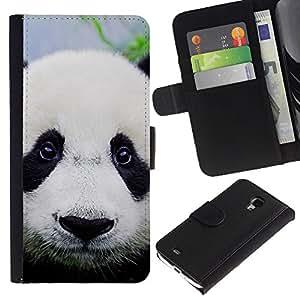 Planetar® Modelo colorido cuero carpeta tirón caso cubierta piel Holster Funda protección Para Samsung Galaxy S4 Mini i9190 (NOT S4) (NOT S4) ( Plush Furry Panda Eyes japoneses lindos Sad )