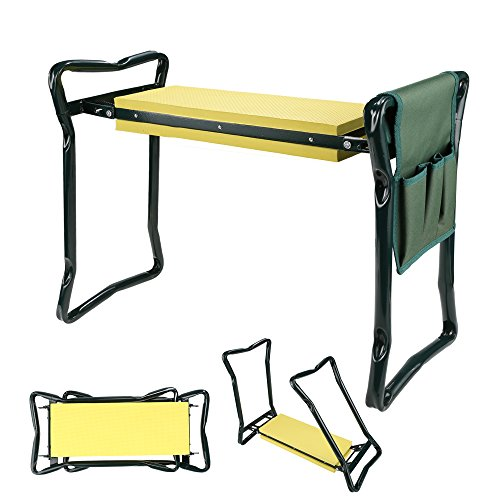 Foldable Garden Bench Seat Sool Kneeler With Tool Pouch, Portable Garden Stool With EVA Kneeling Pad Handles (With 1 Tool Pouch (Gardeners Helper)