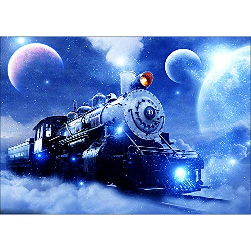 (Staron  Full Drill 5D Diamond Painting Train Pattern Cross Stitch Kits DIY Diamond Embroidery Crystal Pictures Paint with Diamonds Wall Art Home Decor (D))
