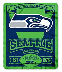 NFL Seattle Seahawks Marque Printed Fleece Throw, 50-inch by 60-inch