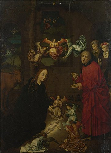 Polyster Canvas ,the Beautiful Art Decorative Canvas Prints Of Oil Painting 'After Hugo Van Der Goes The Nativity At Night ', 16 X 22 Inch / 41 X 56 Cm (National Costume Per Country)