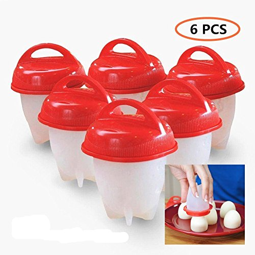 Silicone Egg Boil, Egg Cooker - Hard Boiled Eggs without the Egg Shell , BPA Free, Non Stick Silicone (6 Egg Cups, Red) (Red, 6 Egg Cups) (Egg Cup Red)