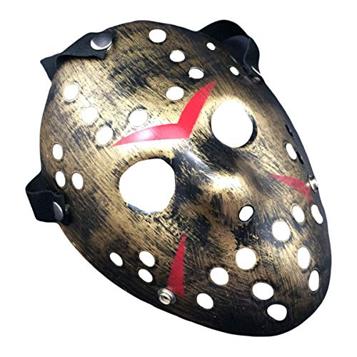 IMIKE Halloween Cosplay Masks Friday The 13th Jason Face Masks Retro Thicken Horro Masquerade Paty Masks Great Decorations (Golden)