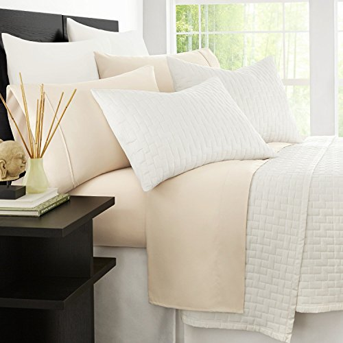 Microfiber Blend - Zen Bamboo 1800 Series Luxury Bed Sheets - Eco-friendly, Hypoallergenic and Wrinkle Resistant Rayon Derived From Bamboo - 4-Piece - Queen - Cream