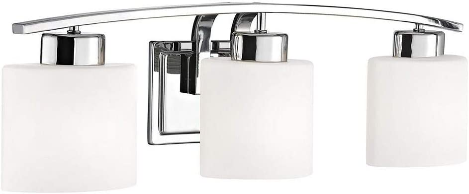 Chrome Bathroom Wall Light with White Oval Glass – Three Lights