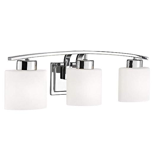 Amazon.com: Cromo Cuarto de baño lámpara de pared con óvalo ...