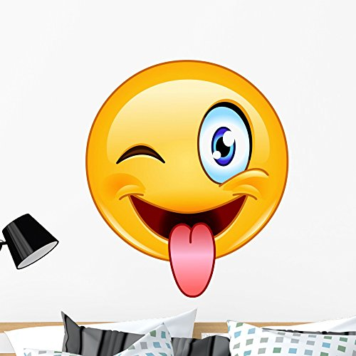 Wallmonkeys Tongue out Emoticon Wall Decal Peel and Stick Vinyl Graphic (36 in H x 31 in W) -