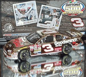 Gold Color Chrome Finish Dale Earnhardt #3 1998 Daytona 500 Win GM Goodwrench Plus 1/24 Scale Diecast Hood Opens, Trunk Opens HOTO Only 5004 Made Individually Serialized With Certificate of Authenticity COA
