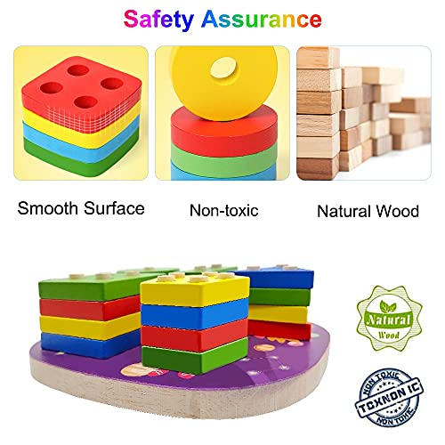 Puzzle Bois Enfant 1 2 3 4 Ans, Jouet Montessori Apprentissage Éducatif pour Bébés, Géométriques Forme Stack Tri, Jouets en Bois Couleurs pour Préscolaire Garcon Fille - Espace