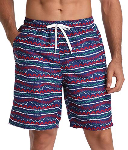 Cotton Striped Trunk - ATTRACO Mens Board Shorts Beachwear Summer Holiday Swim Trunks Quick Dry Striped Navy 30