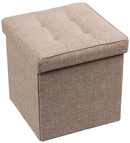 Storage Ottoman Foldable with Square Padded Seat 15 x 15 (Taupe)