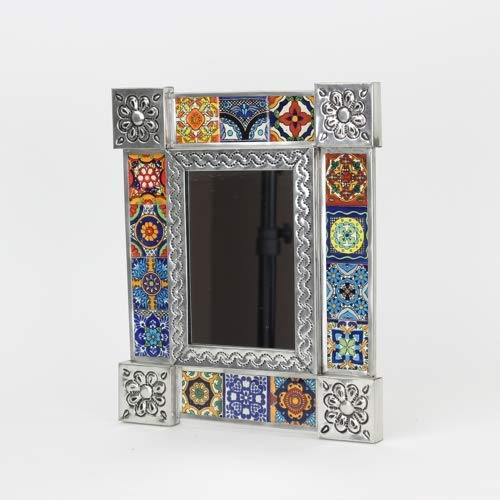 Mexican Mirror - Talavera Mirror - Punched Tin Mirror - Mexican Tile Mirror - Western Mirror - Southwestern Mirror - Mexican Tin Mirror - 11x13