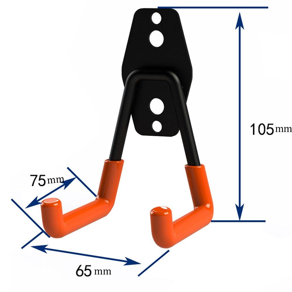 AIYoo 2 Pack Utility Hooks Heavy Duty Garage Storage Extended U-Hook for Ladders & Tools,Wall Mount Garage Hanger & Organizer - Tool Holder U Hook with Anti-Slip Coating Storage Hooks by AIYoo (Image #2)