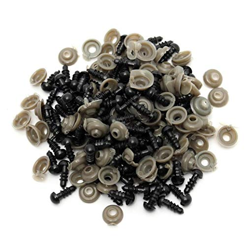100 Pcs 12mm Solid Black Safety Eyes for Bear Doll Puppet Plush Animal and Craft ()