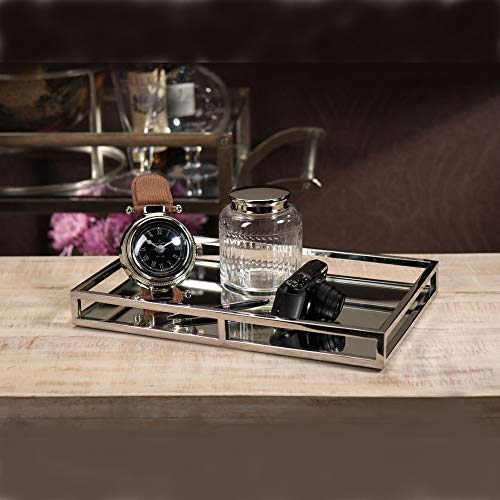 Le'raze Mirrored Vanity Tray, Decorative Tray with Chrome Rails for Display, Perfume, Vanity, Dresser and Bathroom, Elegant mirror tray Makes A Great Bling Gift –16X10 Inch by Le'raze (Image #4)