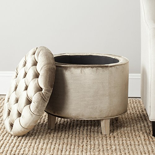 - Safavieh Hudson Collection Amelia Tufted Storage Ottoman, Antique Sage