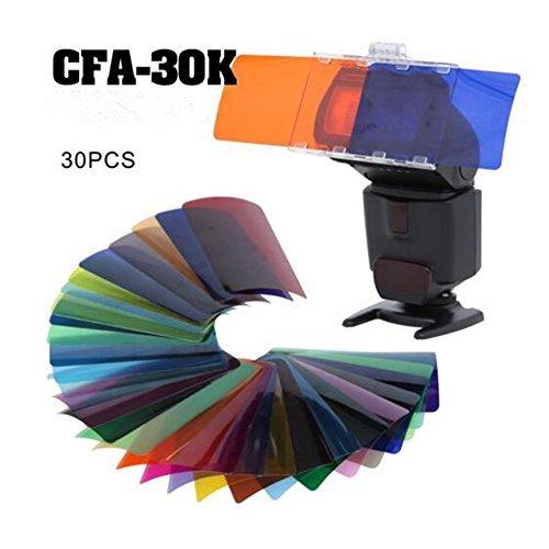 Falcon Eyes CFA-30K Kit Flash Speedlite 30 Colors Color Gel Kit with Barndoor & Reflector & Bag for Canon Nikon YONGNUO GODOX (Flash Barndoor)