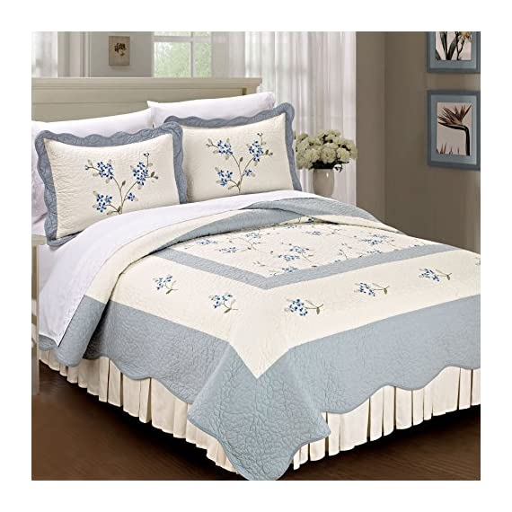 Serenta Classic Blue Hawaiian Flowers 100% Cotton Bedspread Quilt Blanket 3 Pieces Bed Set, King - Please Check Dimensions Carefully (1) King Bedspread: 102 x 94 Inches (2) King Shams: 20 x 30 + 2 Inches - sheet-sets, bedroom-sheets-comforters, bedroom - 51tETOBmwzL. SS570  -