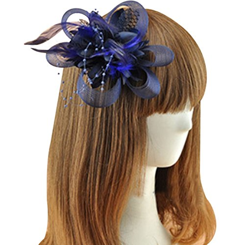 Coolr Fascinator Hair Clip Cocktail Headwear Flower Bridal Headpieces (Navy Blue)