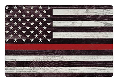 Lunarable American Flag Pet Mat for Food and Water, US Firefighter Support with Grunge Wooden Stars and Stripes, Rectangle Non-Slip Rubber Mat for Dogs and Cats, Coconut Dark Mauve Vermilion
