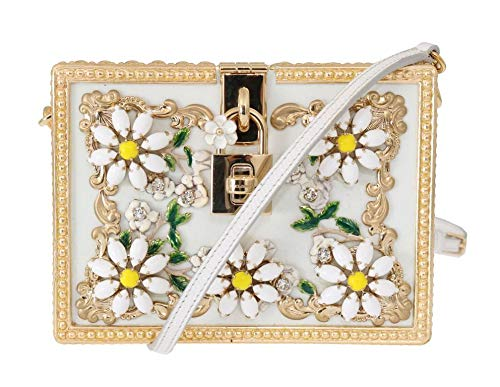 Dolce & Gabbana Gold Daisy Crystal White Leather Bag