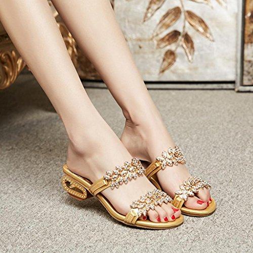 (Sinwo Women Fashion Rhinestone Slipper Sexy High Heels Sandals Crystal Party Shoes Flip Flops (7.5, Glod))