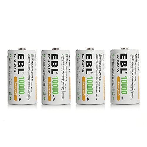 EBL 4 Pack 10000mAh D Size Rechargeable Batteries High Capacity Ni-MH D...