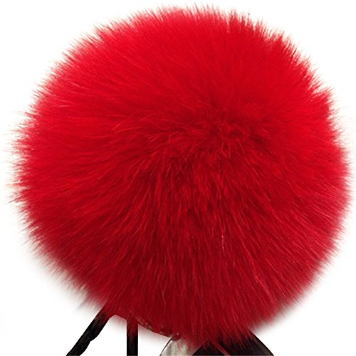Dikoaina Faux Fox Fur Pom Pom Keychain Bag Purse Charm Gold Ring Fluffy Fur Ball (Red)