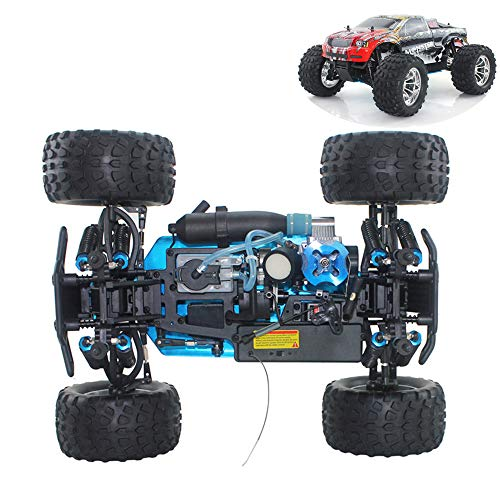 WYY RC Nitro Car,Buggy Off-Road Vehicle Toy,Alloy Four-Wheel Drive Bigfoot, Fuel Remote Control Car Simulation Car Model Toy for Adults,B