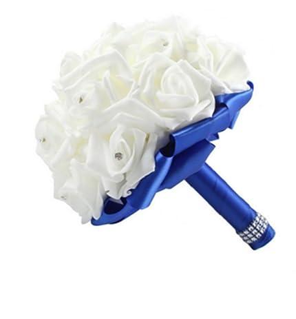Amazon fhd crystal roses pearl bridal bridesmaid wedding fhd crystal roses pearl bridal bridesmaid wedding bouquet artificial silk flowers dark blue mightylinksfo