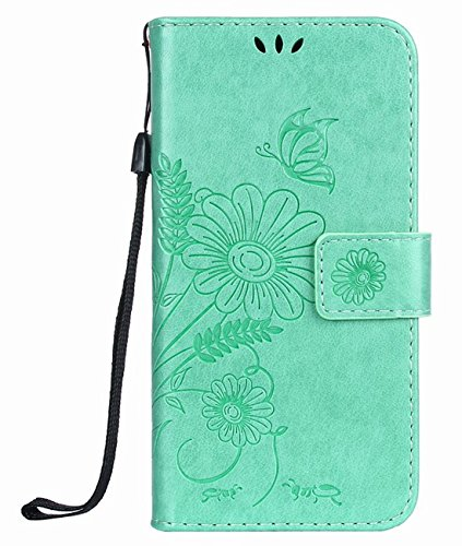 Matop Compatible for iPhone 5 5s SE Case,Premium Daisy Embossed PU Leather Soft TPU Inner Bumper Flip Kickstand Wallet Case with Card Holders Magnetic Closure Card Slot Protective Cover (Green)