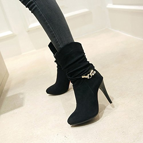 Women's Pull Faux Aisun Pointed High Stylish Boots Heel Suede Mid Slouchy on Stiletto Toe Black Calf dqBxgwz