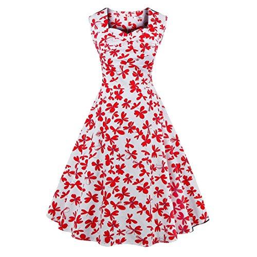 Pencil Flower Coolred Sleeveless Retro Print Women 1 Dress Midi nAwqEFYRxw