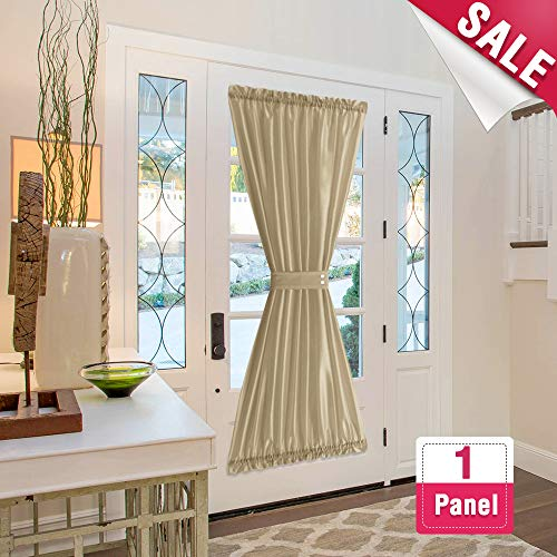 French Door Panels Privacy Faux Silk French Door Curtains 72 inch Length 1 Panel French Door Panel, Gold Taupe, Tiebacks Included ()