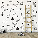 Wall Vinyl Forest Animal Decal 40 pcs. Nursery Decor, Original Artist Design. Adhesive Animals Sticker for Kids. Baby Nordic Fox, Bear, Moose, Birds, Squirrel, Pine, Trunk, Leaf Bedroom Decoration.