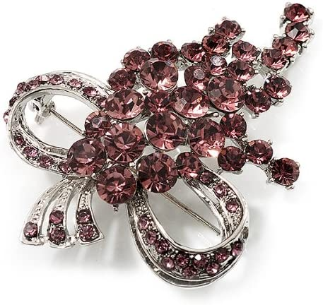 Avalaya Bright Lilac Crystal Grapes Brooch Silver Tone