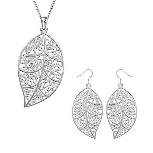 Yuren 925 Sterling silver Cute Natural Leaf Pendant Necklace Earrings Jewelry Set For Women Or Girls Trendy Bohemian Jewelry
