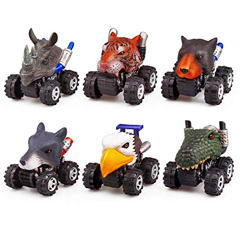 ZHMY Dinosaur Toys, Pull Back Dinosaur Cars, Creative Gifts for 3-12 Year Old Boys Girls, 6-Pack (Animal)