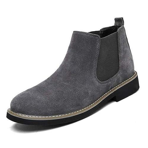 Hombres Chelsea Botas Moda Tobillo Cuero Slip Ons Motocicleta Zapatos Calientes: Amazon.es: Zapatos y complementos