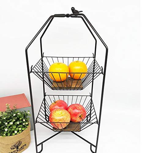 YUSDP 2-Tier Metal Fruit Basket Kitchen Storage Frame, Gourmet Lattice Display Stand Wrought Iron Pine Wood Material, Hangable Incremental Design