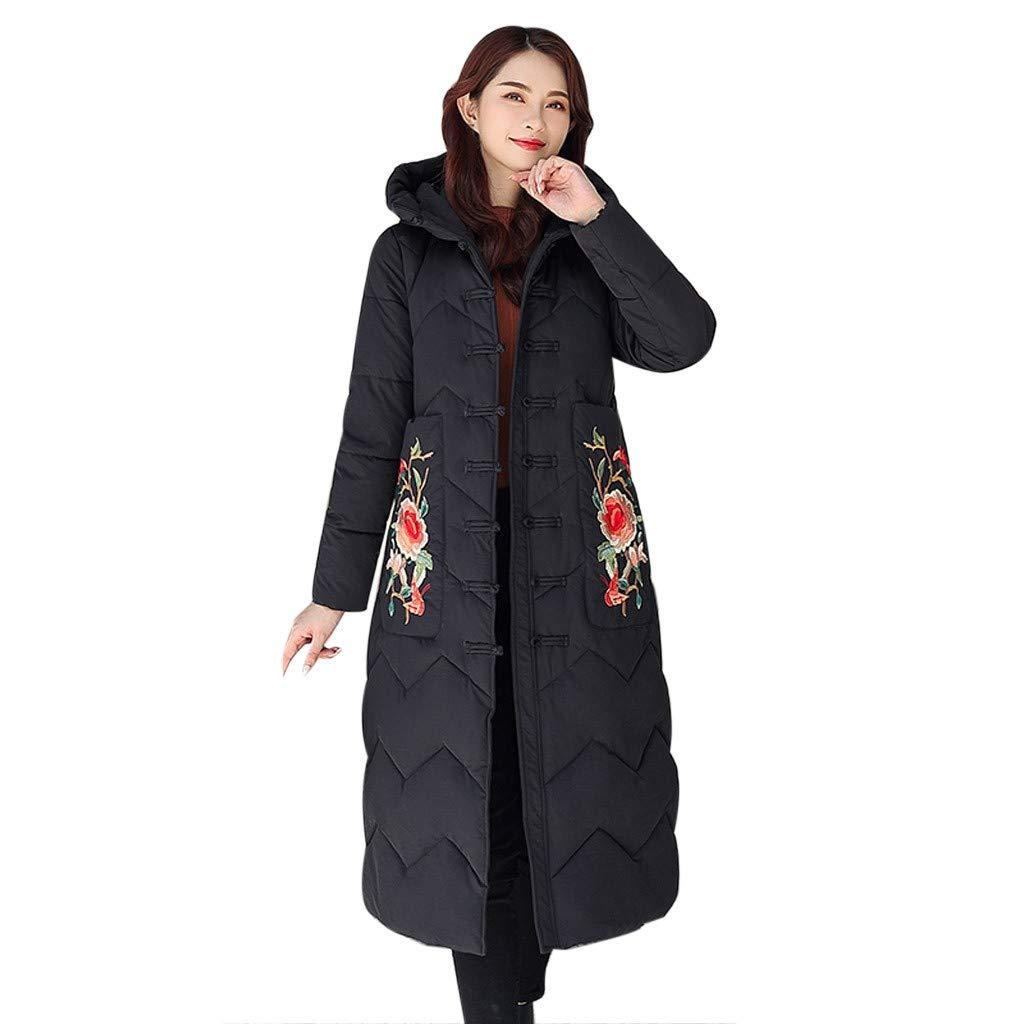 Fashionhe Women Hooded Outwear Winter Warm Jacket Floral Embroidery Windbreaker Coat Overcoat(Black.3XL) by Fashionhe