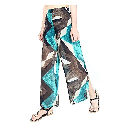 Long Open Femmes Print Elastische Double De Droit Soie Large Moderne 8 Layer D'été Pantalon Taille Mode En Baggy Pour Élégantes Casual Couleur Mousseline Confortable Pattern vIHOwqP
