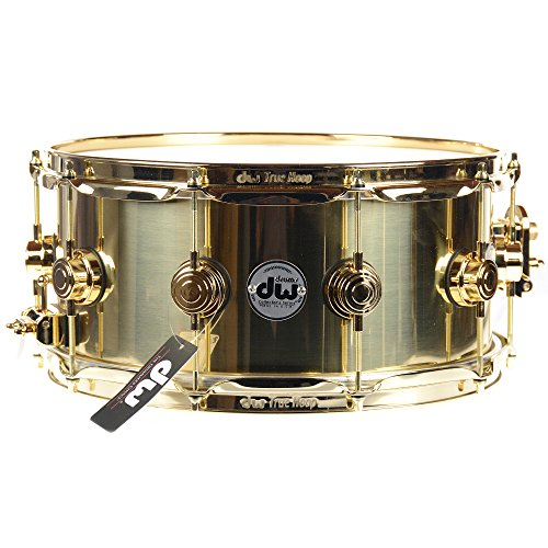 (DW 6.5X14 Brass Polished Snare Drum w/Gold Hardware)